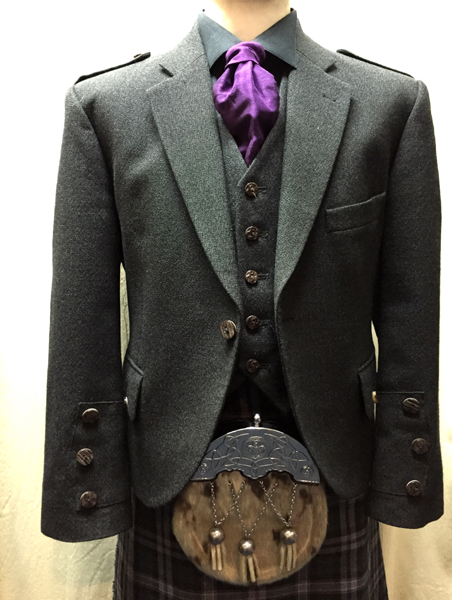 Gray tweed jacket with black Scottish national tartan | Johnstone