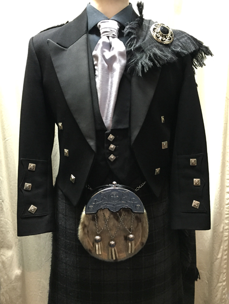 Black Prince Charlie jacket and waist coat with gray highlander tartan | Houston