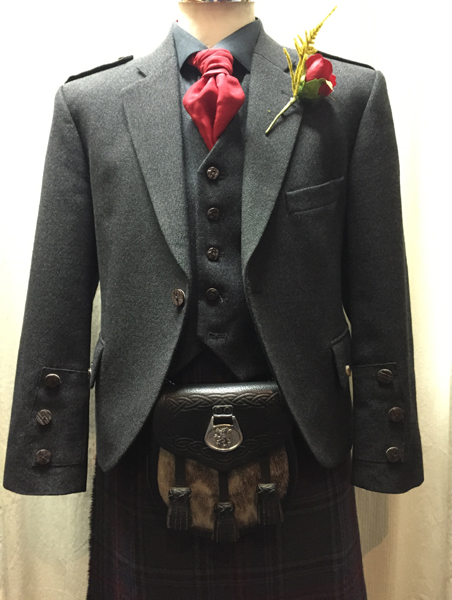 Gray tweed jacket with gray stewart tartan | Bridge of Weir