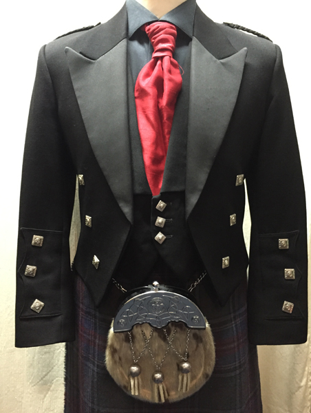 Black Prince Charlie jacket and vest with gray stewart tartan | Kilbarchan